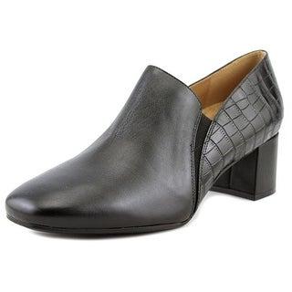 Naturalizer Novara Women W Square Toe Leather Black Loafer