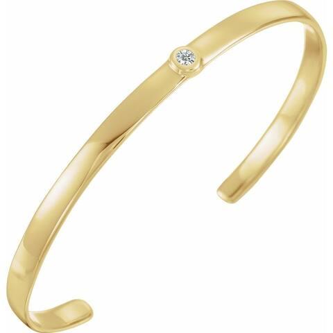 "14k Gold Diamond Cuff Bracelet, 6"" (1/10cttw)"