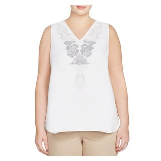Nic + Zoe Womens Plus Casual Top Embroidered Sleevless