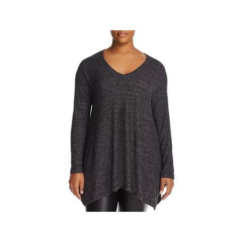 Nally & Millie Womens Plus Tunic Sweater Heathered Long Sleeves
