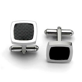 Chisel Stainless Steel Polished and Carbon Fiber Cuff Links