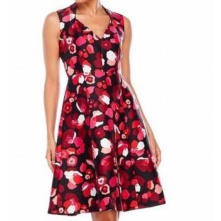 Kate Spade NEW Pink Black Womens Size 4 Floral V-Neck A-Line Dress