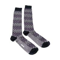 Missoni GM00CMU5242 0002 Purple/White Chevron Knee Length Socks - L