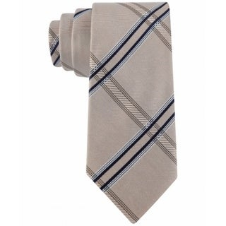Kenneth Cole Reaction NEW Blue Taupe Men's Grid Print Silk Neck Tie