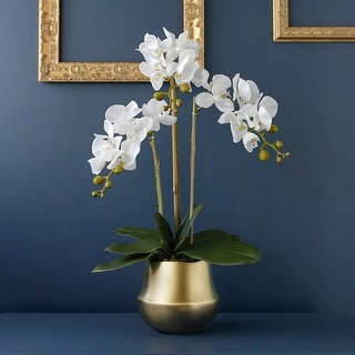 """FloralGoods Real Touch Orchid Arrangement in Gold Metal Vase 26"""" Tall - White"""