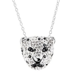 Crystaluxe Spotted Panther Pendant with Swarovski Crystals in Sterling Silver - White