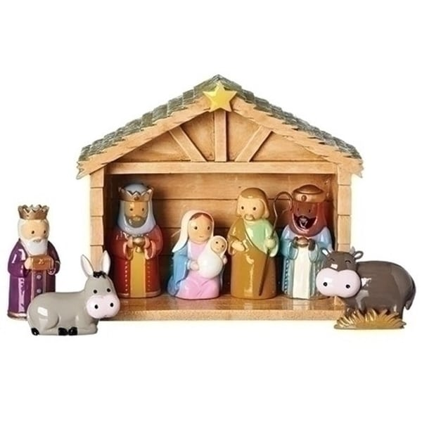 """Set of 2 8-Piece Religious Little Drops of Water Christmas Nativity Scene 6.75"""" - multi"""