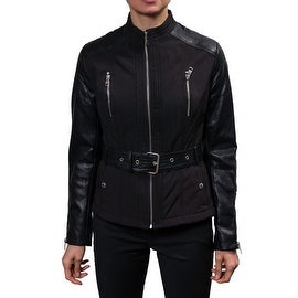 Buffalo Women's Belted Soft Shell Jacket with Faux Leather Sleeves