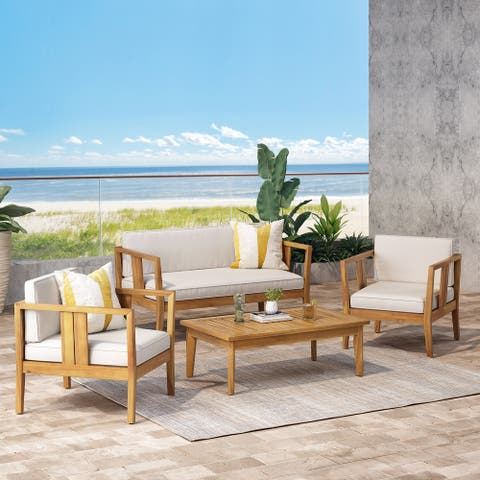Nicholson Outdoor 4 Seater Acacia Wood Chat Set by Christopher Knight Home