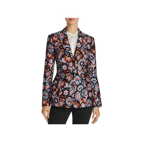Theory Womens Three-Button Blazer Jacquard Floral Print