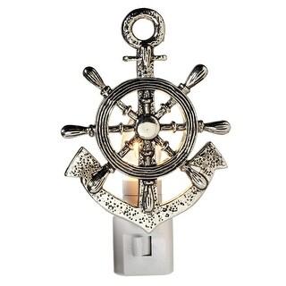 Set of 4 Silver Zinc Ship Wheel and Anchor Night Light 5.5
