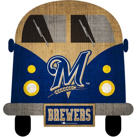 """Milwaukee Brewers Team Bus 12"""" Wooden Sign - Multi"""