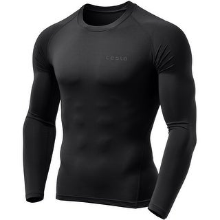Tesla MUD01 Cool Dry Long Sleeve Compression Shirt - Black/Black