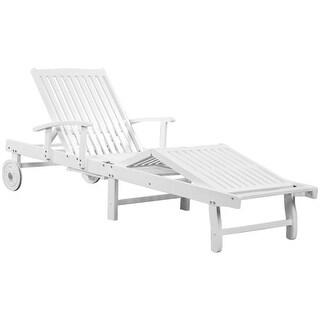 vidaXL Sun Lounger with Wheels Solid Acacia Wood White