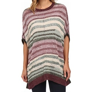 Two By Vince Camuto NEW Green Purple Women's Size XL Poncho Sweater