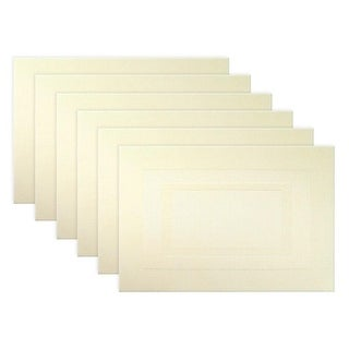 """Set of 6 Off-White Natural Double Frame Textures Place Mat 19"""""""