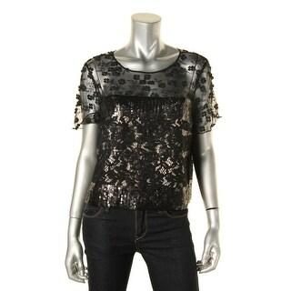 Elie Tahari Womens Crop Top Lace Short Sleeve