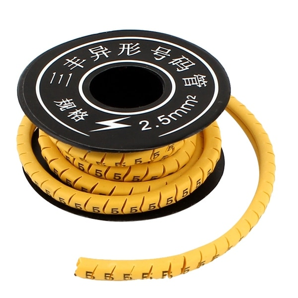 Unique Bargains Yellow Flexible PVC Number 5 Printed 2.5mm2 Wire Cable Markers Tag