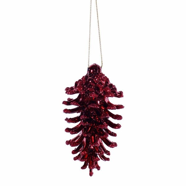 "6ct Burgundy Glittered Shatterproof Pine Cone Christmas Ornaments 3.5"""