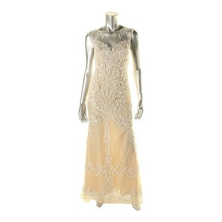 Basix Womens Sleeveless Beaded Formal Dress - 0