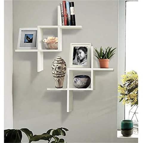Set of 2 Reversed Criss Cross Wall Shelf White