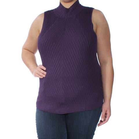 INC Womens Purple Sleeveless Turtle Neck Sweater Size XXL