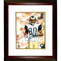 aeef9843c82 Isaac Bruce signed St Louis Rams 8x10 Photo Custom Framed white jersey  close up