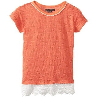 My Michelle Girls Lace Trim Pullover Sweater - L