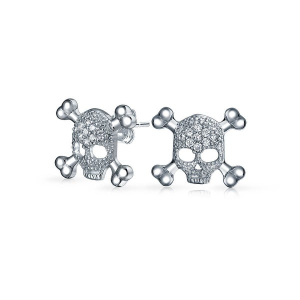 0e2e32fb5 Shop Bling Jewelry CZ 925 Sterling Silver Skull and Crossbones Stud  earrings 925 Sterling Silver 12mm - Free Shipping On Orders Over $45 -  Overstock - ...