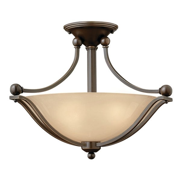 """Hinkley Lighting 4651-GU24 2-Light Title 24 19.25"""" Width Fluorescent Semi-Flush Ceiling Fixture from the Bolla Collection"""