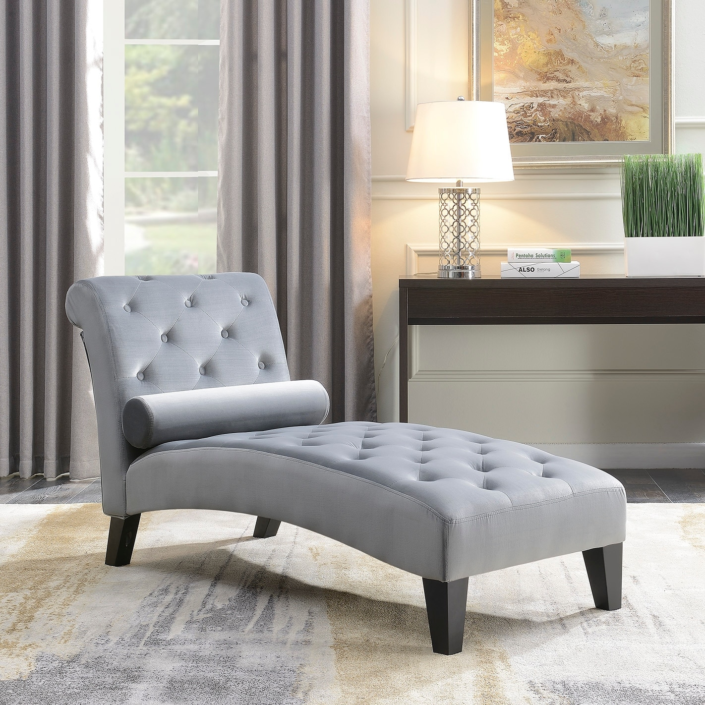 Belleze Living Room Home Office Button Tufted Leisure Chair Rest Sofa  Chaise Lounge Couch Indoor Furniture, Gray