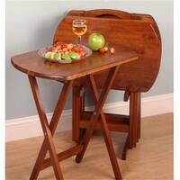 Winsome 94594 5pc TV Table  4 Oblong Tables with Stand-Walnut