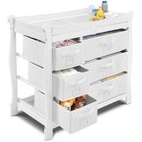 Costway White Sleigh Style Baby Changing Table Diaper 6 Basket Drawer Storage Nursery