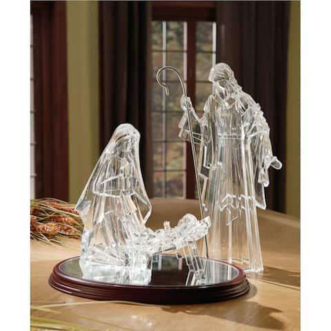 "Icy Crystal Illuminated Religious Holy Family Christmas Nativity Figure 16"""