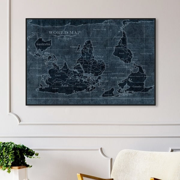 Oliver Gal 'Upside-Down Map of the World Noir' Maps and Flags Wall Art Framed Canvas Print World Maps - Blue, White. Opens flyout.
