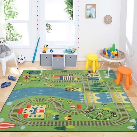 Mohawk Home Train Track Play Kids Area Rug