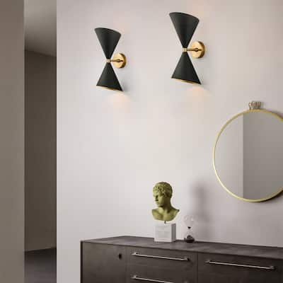2-Light Up and Down Wall Sconce in Black/Brass - Black+Gold - 6.3Inch