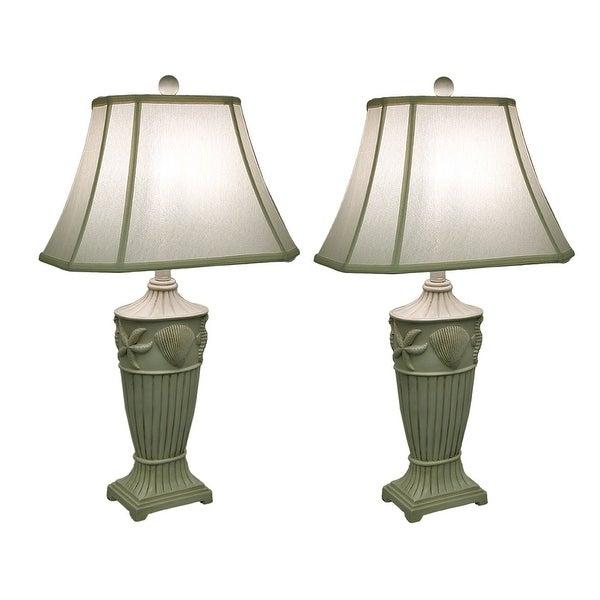 2 Piece Off White Ribbed Coastal Seashell Table Lamp Set W/Fabric Shade