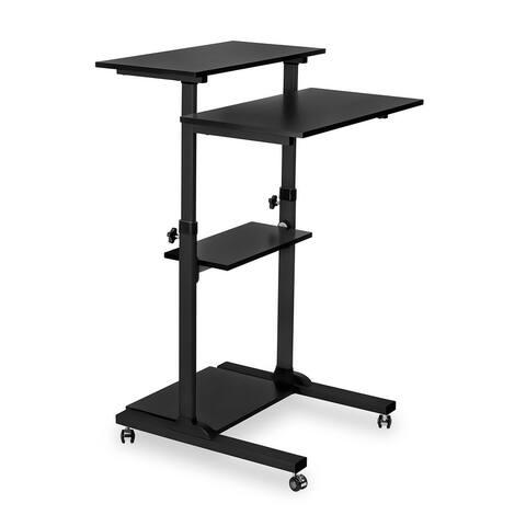 Mount-It! Mobile Stand Up Desk/Height Adjustable Computer Work Station Rolling Presentation Cart, Black - MI-7940B