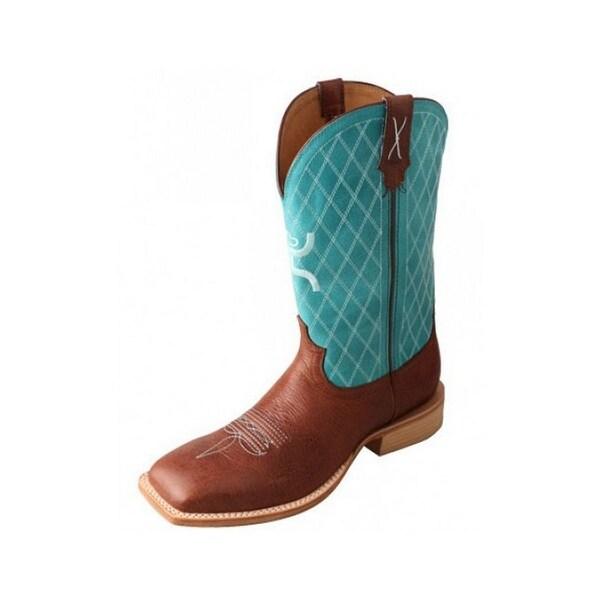 HOOey Western Boots Men Cowboy Square Riding Logo Cognac Turq