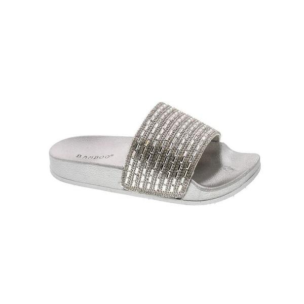 Bamboo Womens Dazzling-01S Vibrance01 Open Toe Jeweled Rhinostone Slide Flip Flops Flat Sandal Slippers