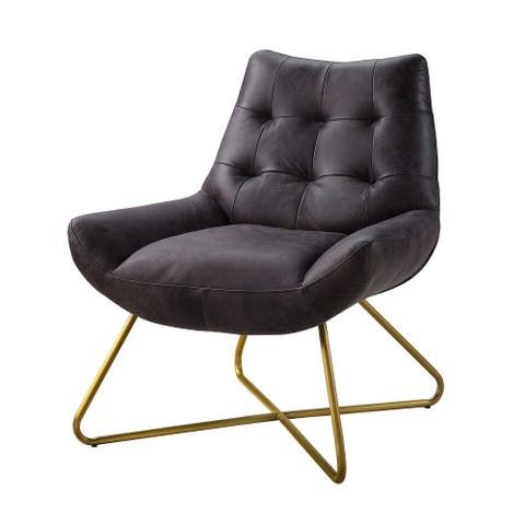 Leatherette Accent Chair with Tufted Backrest and Metal Base,Black and Gold
