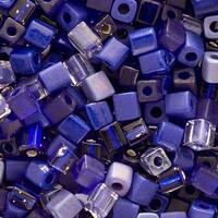 Miyuki 4mm Glass Cube Bead Mix Cobalt Medley Blue 10 Grams
