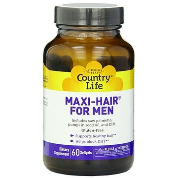 Country Life Maxi-Hair For Men - 60 Softgels - Supports Healthy Hair - Helps Block DHT - Saw Palmetto, Seed Oil, DIM