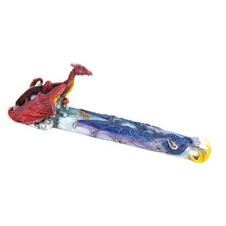Awesome Double Dragon Stick Incense Holder Burner - Multicolored