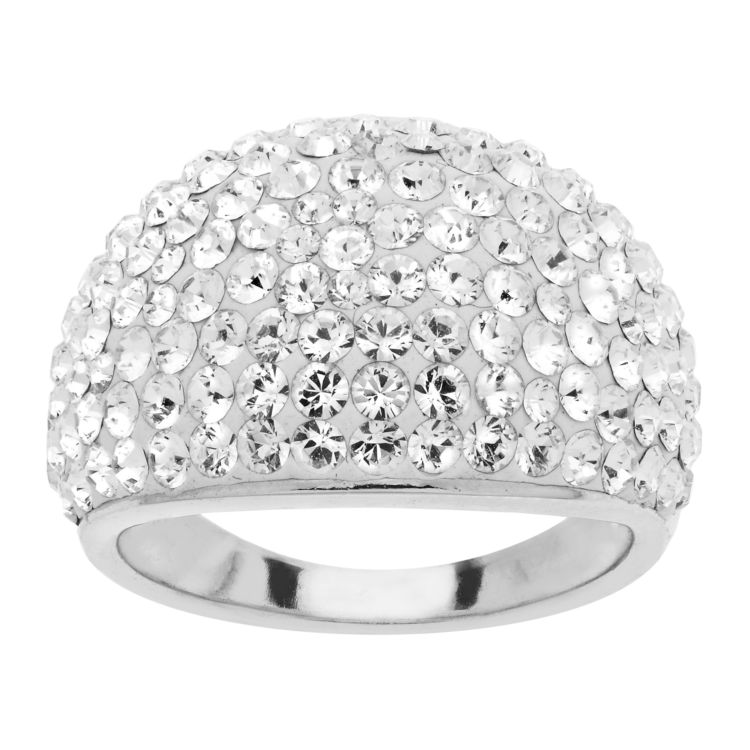 Crystaluxe April Ring with White Swarovski Crystals in Sterling Silver