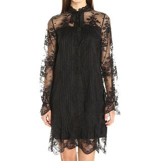 Elie Tahari NEW Black Womens Size XL Floral Lace Pleated Shift Dress