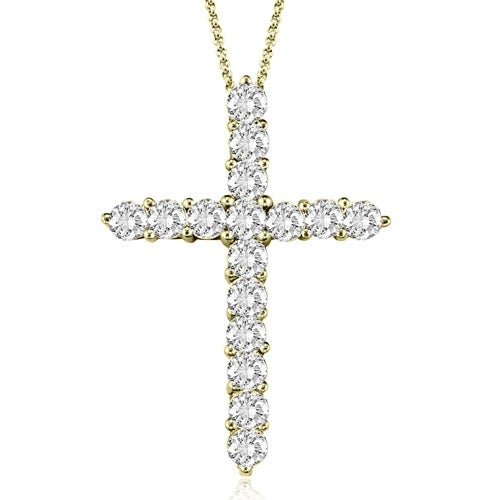 2.00 cttw. 14K Yellow Gold Round Cut Diamond Big Cross Pendant