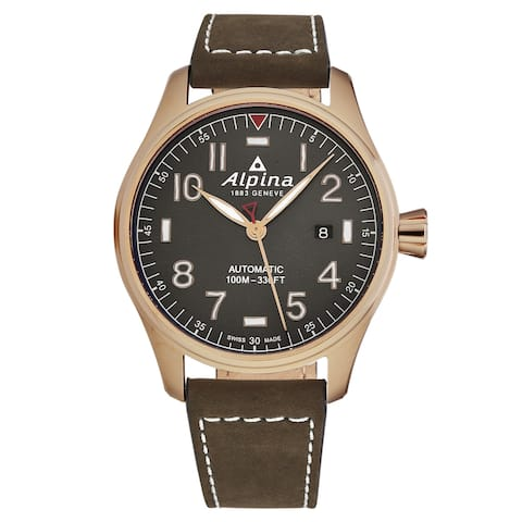 Alpina mens 'startimer pilot' grey dial brown leather automatic watch al525g4s4