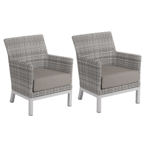 Oxford Garden Argento Resin Wicker Club Chair with Powder Coated Aluminum Legs - Stone Polyester Cushion (Set of 2)
